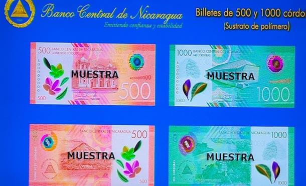 Nuevos billetes de 500 y 1000 córdobas circularán en Nicaragua
