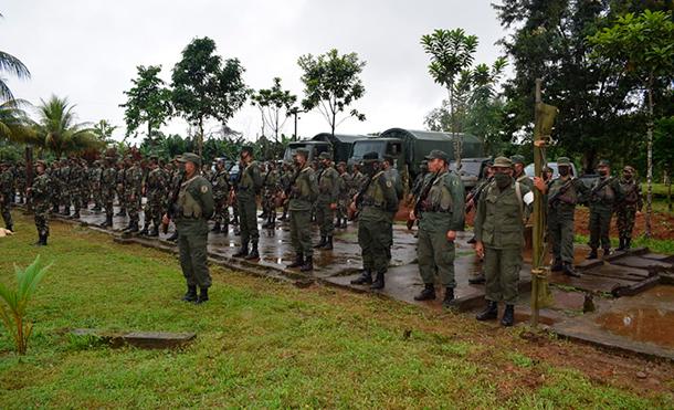 Foto Ejército de Nicaragua: En el acto participaron autoridades del municipio de Nueva Guinea; representantes de CISA-Exportadora; de la Policía Nacional; más de 170 productores de café del municipio de Nueva Guinea; cooperativas, empresas comercializadoras; medios de comunicación social, bloque representativo de la Policía Nacional y bloque representativo del 5 Comando Militar Regional.