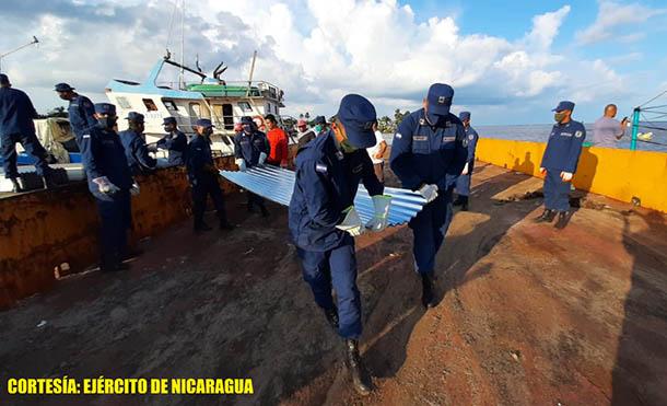 Foto Ejército de Nicaragua // Se emplearon fuerzas y medios del Distrito Naval Caribe.