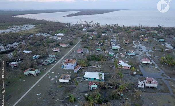 Imágenes aéreas del paso del Huracán Eta por el Caribe Norte de Nicaragua