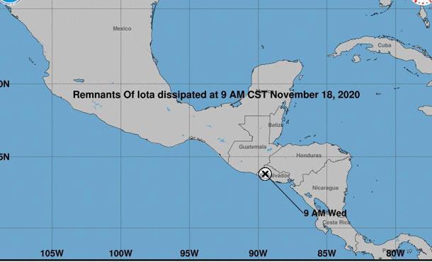 Foto Cortesía: IOTA se desintegró sobre territorio salvadoreño, quedando nada más sus remanentes como áreas de bajas presiones, sobre territorio salvadoreño.