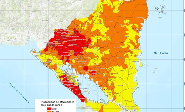 Foto Cortesía: Mapa de susceptibilidad a inundaciones de Nicaragua