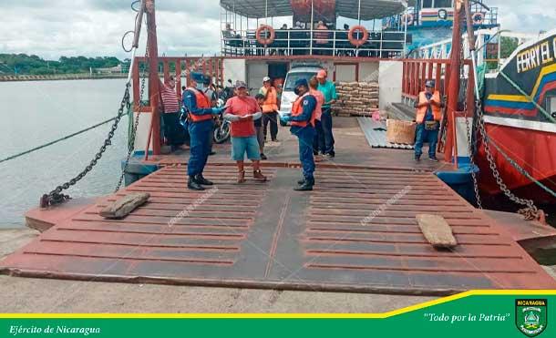 Foto Ejército de Nicaragua: En la Capitanía de Moyogalpa, Isla de Ometepe, se atendieron 109 ferris de transporte de carga con 5,082 pasajeros, con ruta acuática al puerto de San Jorge, departamento de Rivas.