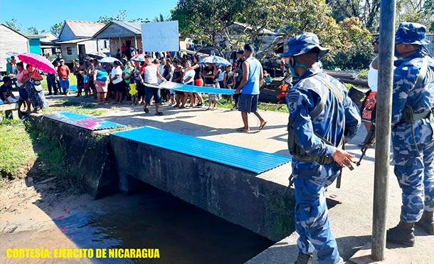 Durante la protección y seguridad, se emplearon fuerzas y medios del Distrito Naval Caribe. / Foto: Ejército de Nicaragua