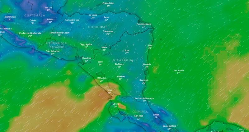 Mapa de Nicaragua donde se observan las diferentes corrientes de vientos que ocasionarán mal tiempo en el Litoral Pacífico.