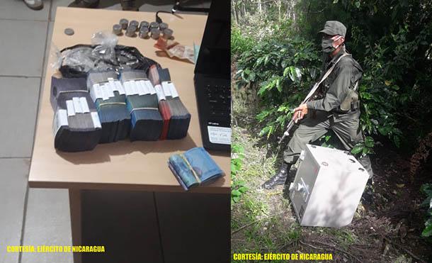 Foto Ejército de Nicaragua // La caja fuerte contenía C$ 231,000 córdobas