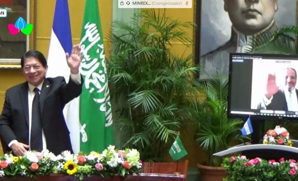 Foto Cortesía: Nicaragua entrega Orden José de Marcoleta en Grado Gran Cruz, al Embajador de Arabia Saudita.