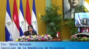Canciller de Nicaragua Denis Moncada recibió de manera virtual las copias de estilo del nuevo Embajador de Indonesia