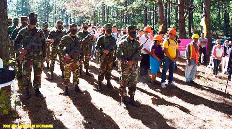 Ejército de Nicaragua junto a pobladores participan en el lanzamiento del Plan contra incendios forestales