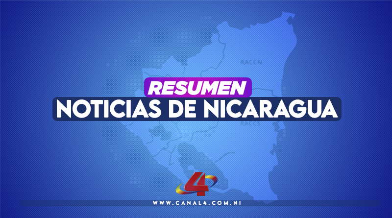 Mapa de Nicaragua con el texto: Resumen de Noticias de Nicaragua