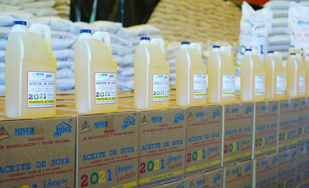 Foto MINED // Esta primera distribución, consta de casi 200 mil quintales de alimentos