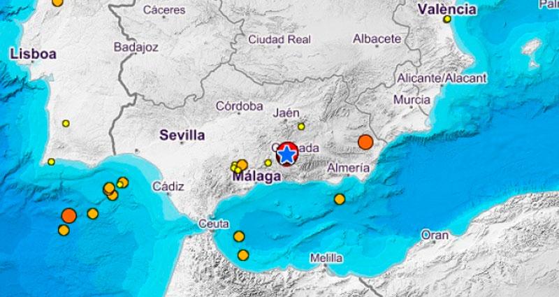 Mapa de la Provincia de Granada, España tras los sismos ocurridos este martes 26 y miércoles 27 de enero del 2021