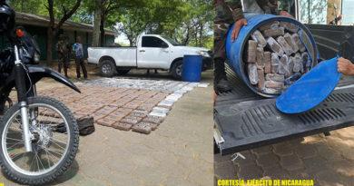 Droga y vehículos incautados al narcotráfico en el municipio de Villanueva, departamento Chinandega en Nicaragua.
