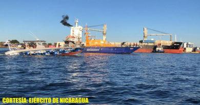Lanchas de la fuerza Naval de Nicaragua brindando protección a flota pesquera y buques mercantes que ingresan a puertos del país.