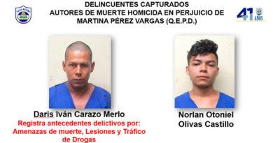 Delincuentes capturados autores de muerte homicida en perjuicio de Martina Pérez Vargas (Q.E.P.D.)