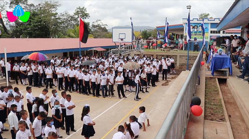 Inicio de clases e inauguración del Centro Escolar de San Pedro del Norte en el municipio de Bocana de Paiwas.