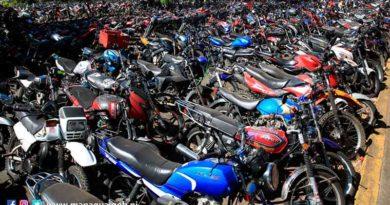 Motocicletas retenidas en el depósito vehicular en Managua