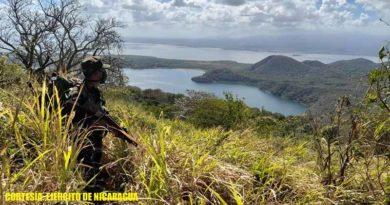 Miembros del Ejército de Nicaragua durante los servicios operativos en la Península de Chiltepe