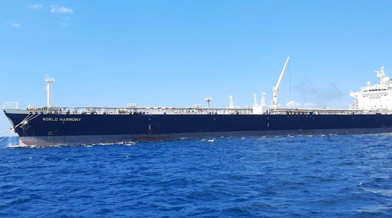 Buque World Harmony que transportaba 70 mil 570 toneladas de petróleo crudo