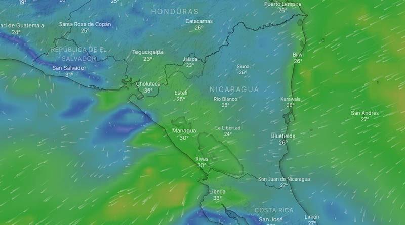 Imagen satelital sobre el frente frío en el Caribe