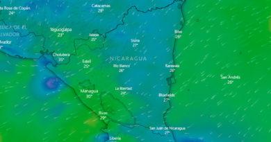 Imagen satelital de Nicaragua con la influencia de corrientes que ingresan al territorio desde el Mar Caribe y el Océano Pacífico