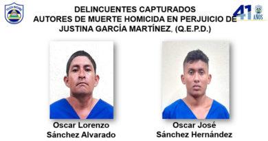 Fotografía de los delincuentes capturados Oscar Lorenzo Sánchez Alvarado y Oscar José Sánchez Hernández; autores de muerte homicida en perjuicio de Justina García Martínez, (Q.E.P.D.)