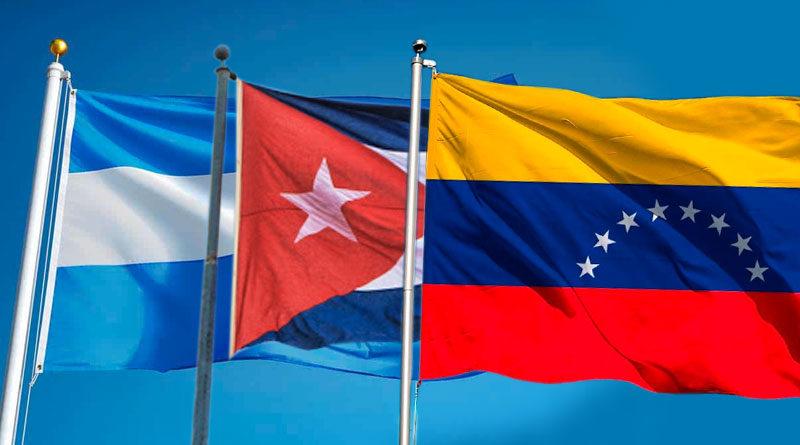 Banderas de Nicaragua, Cuba y Venezuela