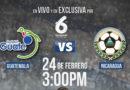 Arte promocional de la transmisión del juego amistoso entre las selecciones de Nicaragua y Guatemala.