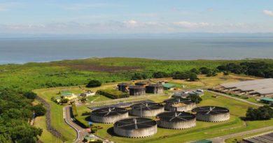 Vista aérea de la planta de tratamientos en Managua