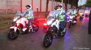 Miembros de la Policía Nacional durante el banderilleado de salida del Plan Especial de Seguridad Escolar