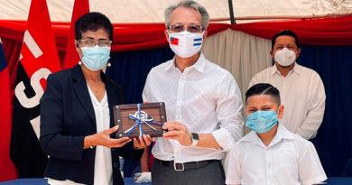 Embajador de Taiwán, Jaime Wu, en Acto de Inauguración de Mejoras del Centro Educativo Villa Esperanza, en el Departamento de Estelí.