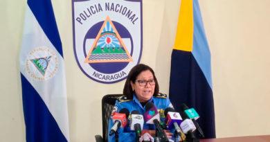 Comisionada General de la Policía Nacional de Nicaragua, Vilma Reyes en conferencia de prensa