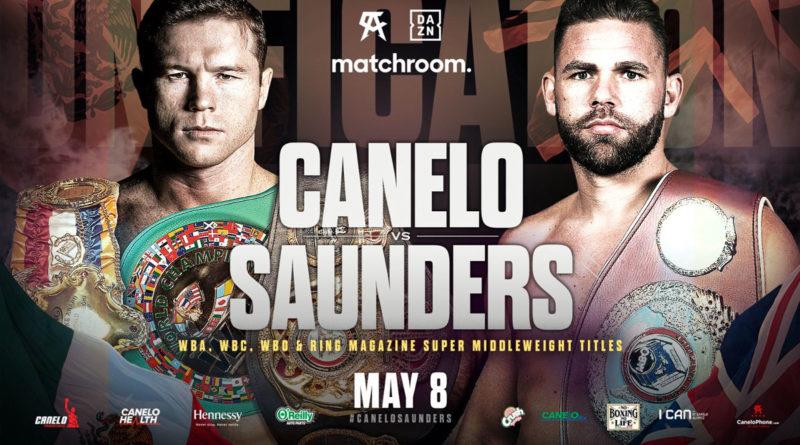 Arte promocional de la pelea entre Canelo Álvarez vs Billy Joe Saunders publicado por Eddie Hearn.