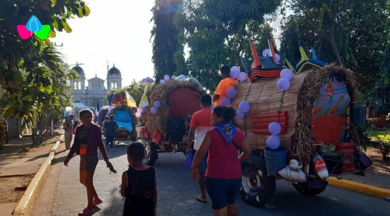 Carretas peregrinas llegando al santuario de Jesús del Rescate en Popoyuapa, Rivas.
