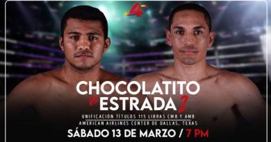 """Román """"Chocolatito"""" González vs Francisco """"El Gallo"""" Estrada, será transmitida por Canal 4 La Mejor Televisión, este 13 de marzo, en vivo desde las 6 de la tarde."""