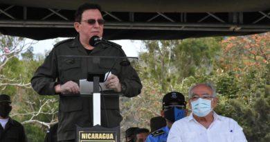 El Comandante en Jefe del Ejército de Nicaragua, General de Ejército Julio César Avilés Castillo, durante el acto de clausura del Plan de Protección y Seguridad a la Cosecha Cafetalera Ciclo Productivo 2020-2021.