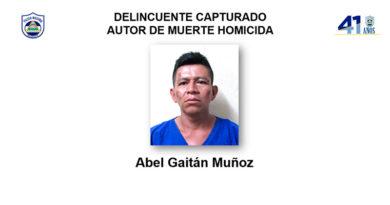 Fotografía del delincuente capturado Abel Gaitán Muñoz, autor de muerte homicida