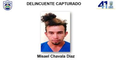 Fotografía del delincuente capturado Misael Chavala Díaz