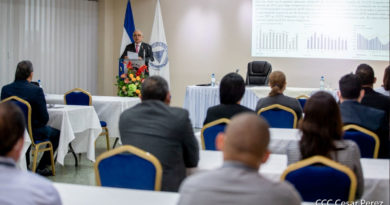 Presidente del Banco Central de Nicaragua (BCN), compañero Ovidio Reyes durante la presentación del estado y perspectiva de la economía de Nicaragua.