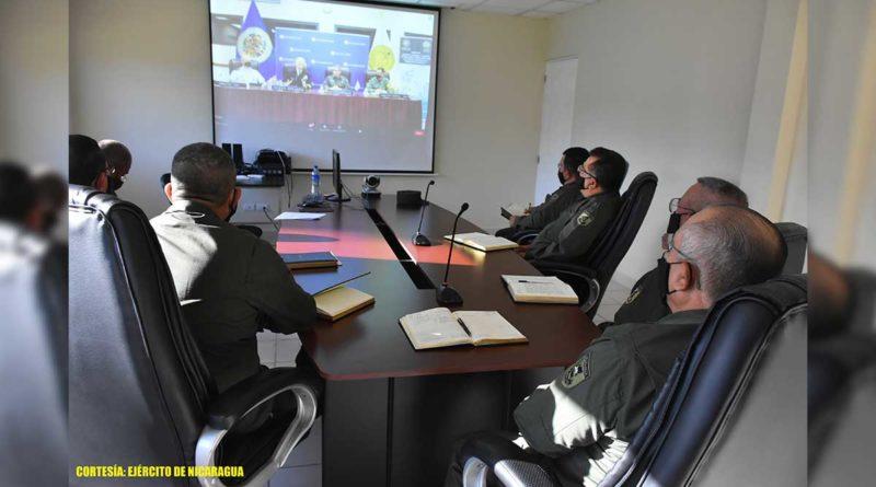 Efectivos militares durante videoconferecia