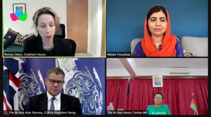 Panelistas Premio Nobel de la Paz Malala Yousafzai, el Sr. Alock Sharma, Presidente de la COP26; la Sra. Nancy Tembo, Ministra de Recursos Naturales de Malawi; Christina Kwak del Brookings Institute, Vnessa Nakate, fundadora del Movimiento Rise Up y Dr Renata Dwan, Sub-Directora de Chatham House.