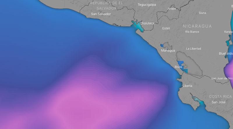 Imagen satelital sobre el fenómeno climático en el Pacífico de Nicaragua