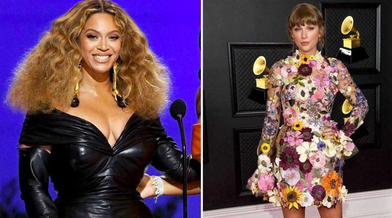 Taylor Swift y Beyoncé durante los Grammys 2021