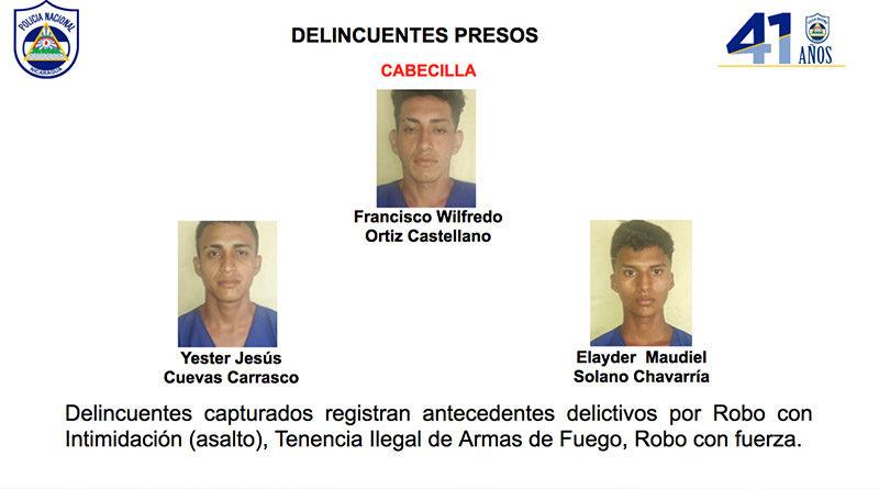 Delincuentes capturados por la Policía Nacional en El Rama