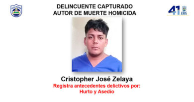 Delincuente capturado Cristopher José Zelaya, autor de muerte homicida en el Barrio Liberación, municipio de Matagalpa.