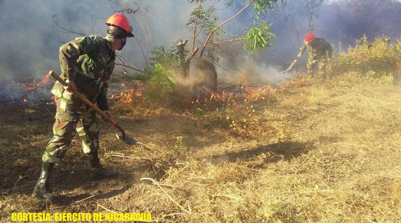 Soldados del Ejército de Nicaragua sofocando incendio forestal