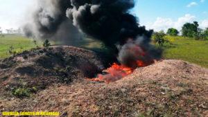 Efectivos militares del Destacamento Militar Norte del Ejército de Nicaragua, realizaron cobertura, protección y seguridad a la incineración de 224.46 kilogramos de cocaína (droga) ocupadas al narcotráfico en Puerto Cabezas.