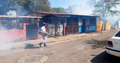 Brigadistas del Ministerio de Salud durante la jornada de fumigación en el barrio Adolfo Reyes