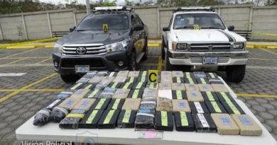Evidencias y droga capturadas por la Policía Nacional en el departamento de Rivas