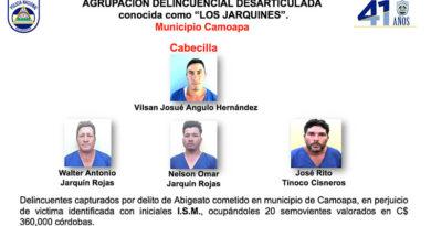 Delincuentes capturados por la Policía Nacional en Boaco y sus municipios
